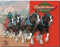 Anheuser Busch Budweiser Beer Bud Clydesdales Horses Vintage Tin Sign New