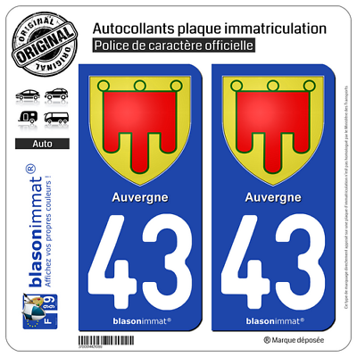 2 Stickers Autocollant Plaque Immatriculation Auto : 43 Auvergne - Armoiries