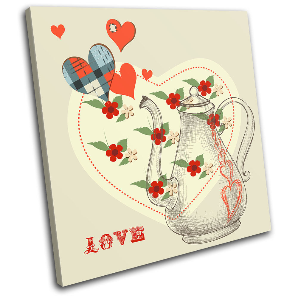 Hearts Floral Colourful Love SINGLE TELA TELA TELA parete arte foto stampa c52c6e