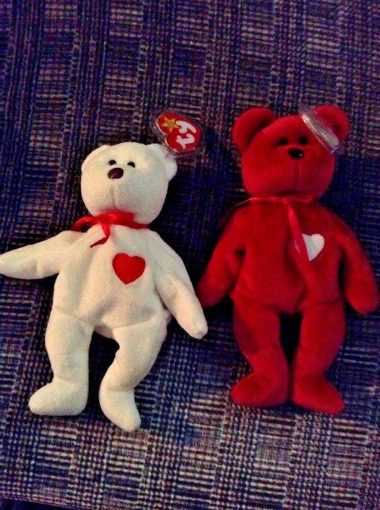 Extremely rare  Valentino Valentina pair beanie babies Ty. Lots of errors  BB6