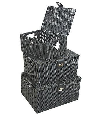 Hamper Storage Basket Black Medium Resin Woven Box With Lid /& Lock