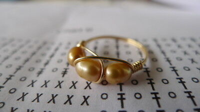 Freshwater Pearl  CARAMEL Gold Filled  Wire Wrapped Ring Sizes  4-13.5