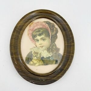 Antique Victorian Die Cut Girl with Cat Kitten Hat Bonnet 1880s-1890s Framed