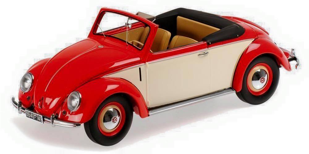 1:18 Kk-Scale Volkswagen VW 1200 Hebmüller Cabriolet 1949 Rosso/Crema Limitato
