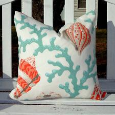 OUTDOOR Nautical Orange Coral Shell Deck Porch Pillow Cover Patio Pillows 18x18