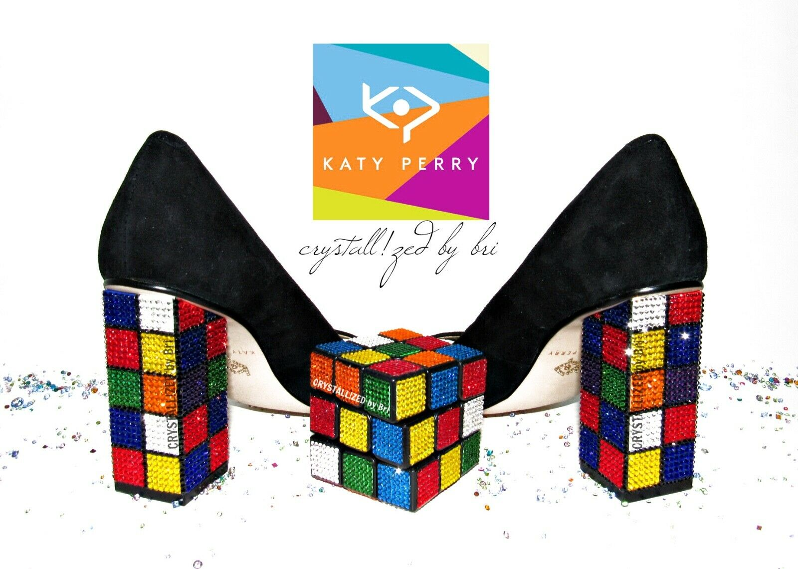 CRYSTALLIZED Katy Perry Perry Perry Rubik's Cube Heels Caitlin Bling with Swarovski Crystals 3408dc