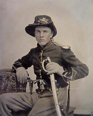 CIVIL WAR UNION CAVALRY SOLDIER PHOTO COMPANY E PISTOLS SABER HARDEE HAT #21338