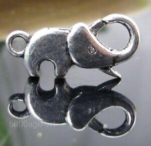 5-PCS-Tibetan-silver-034-Elephant-034-Lobster-Clasps