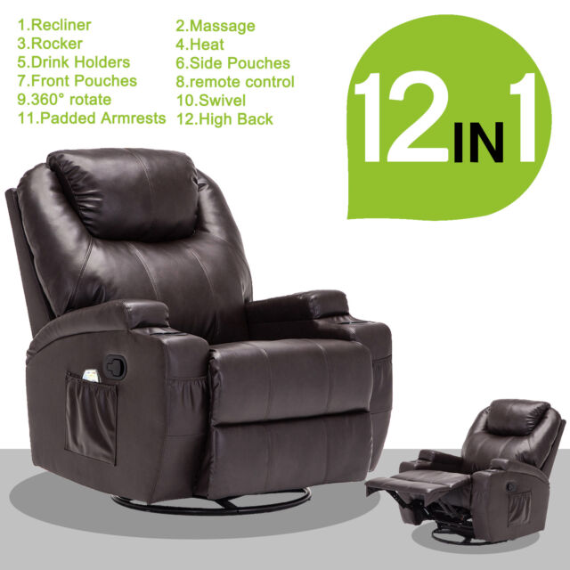 Mage Recliner Sofa Leather Vibrating Heated Ergonomic Chair Lounge W Rc Brown