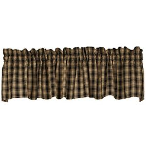 Country Black and Tan Plaid Curtain Valance