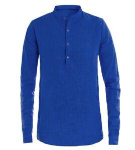 Camicia-Uomo-Puro-Lino-Collo-Coreano-Tinta-Unita-Blu-Royal-Manica-Lunga-GIOSAL