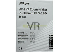 Manuale cartaceo originale per Nikon AF-S VR Nikkor 70/300mm f4,5-5,6 G IF ED VR