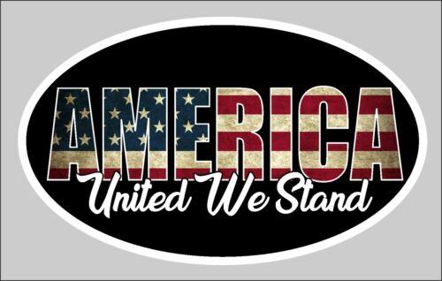 TRUMP AMERICA UNITED WE STAND MAGA STICKER AMERICAN FLAG DECAL WINDOW BUMPER