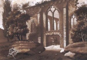 Image Is Loading Antique French Early 19th C Wash Drawing Gothic