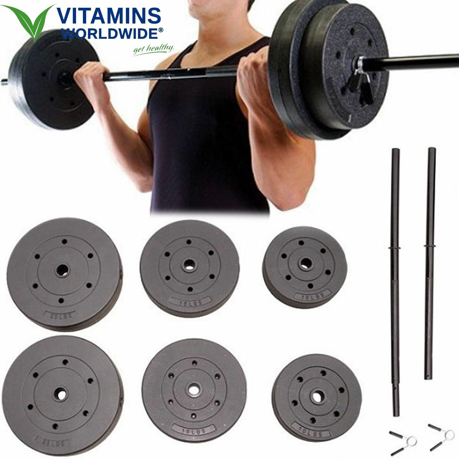 VINYL WEIGHT SET Fitness Workout Home Gym Arm Legs Exercise  Equipment 100 Lbs  big savings