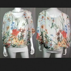 e3dbf35d83d77  158 Giusy Large White Silk Draped Batwing Floral Dolman Tunic Top ...