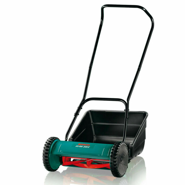 Bosch Push Lawn Mower 5 Blade Cylinder Drum Razor Cut & Catch Grass Hand Roller