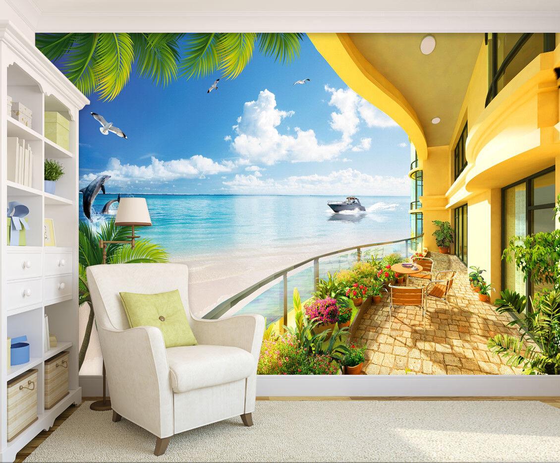 3D Balcony Dolphin 4 Wallpaper Murals Wall Print Wallpaper Mural AJ WALL AU Kyra
