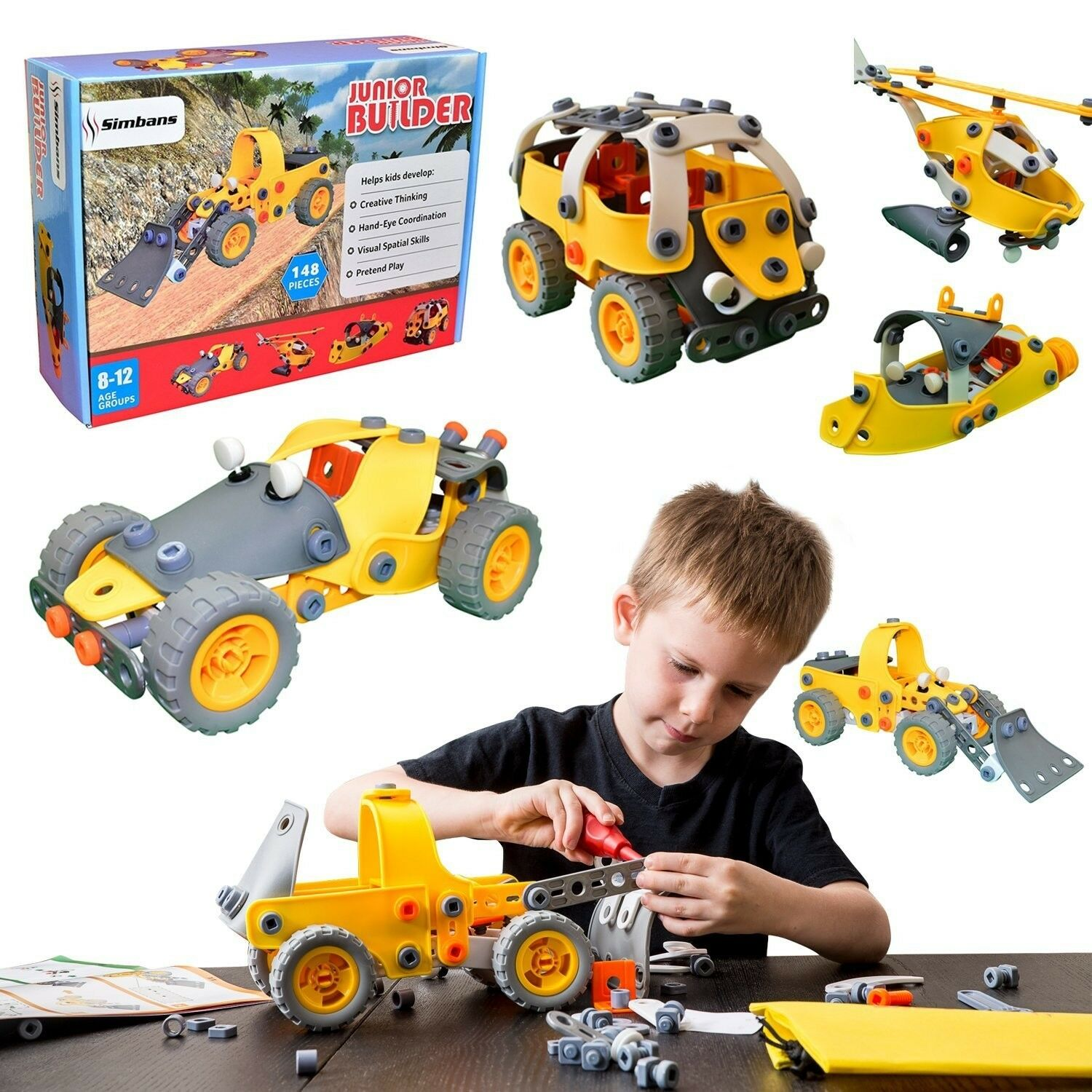 Kids Building Play Toy Set 5in1 148 Pc Boy Girl Gift Learn STEM Educational New