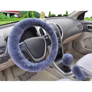 3Pcs//set Winter gray soft warm plush car steering wheel cover handbrake cov lq