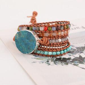 Unisex-Natural-Ocean-Stone-Leather-Bracelet-Vintage-Beaded-Bangle-Jewelry-Gift