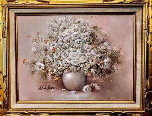 Vintage-Nancy-Lee-Original-Oil-Canvas-FRAMED-DAISIES-FLOWERS-Signed-Still-Life
