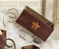 Primitive Country Christmas Wood Box Star Burgundy Sleigh Sled Rusty Runners