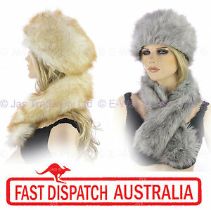 9806954e17e39 Ladies Russian Trooper Hat Faux Fox Wolf Fur Animal Hat and Scarf ...