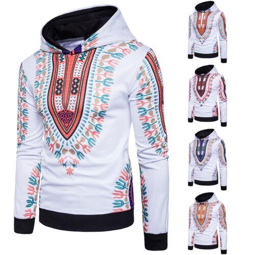Mens Dashiki Tribal Print Long Sleeve Hoodie Hooded Sweatshirt Coat Sweater