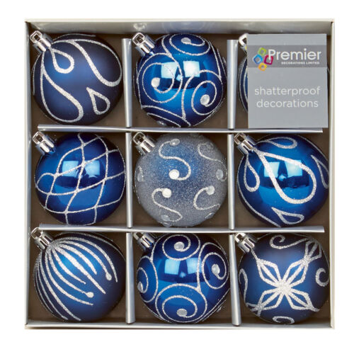 Christmas Tree Decoration 9 Pack 60mm Shatterproof Baubles M Blue