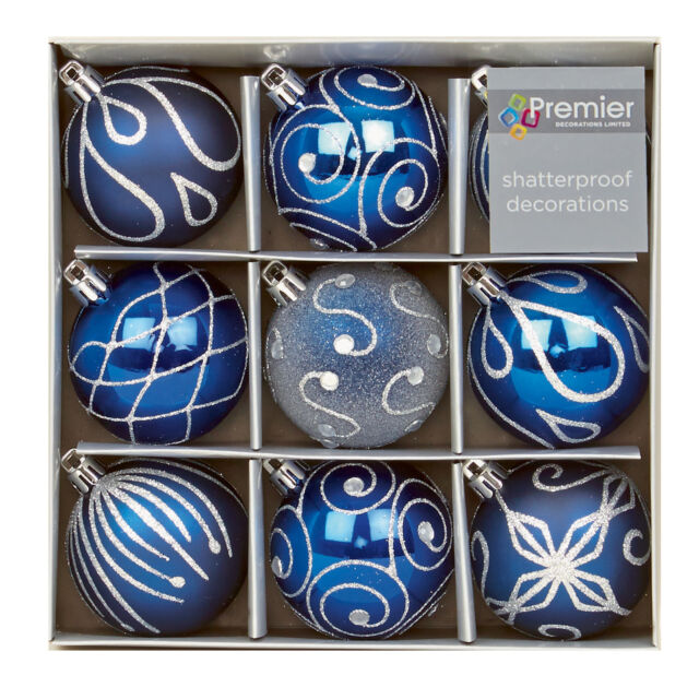 Christmas Tree Decoration 9 Pack 60mm Shatterproof Baubles - M Blue
