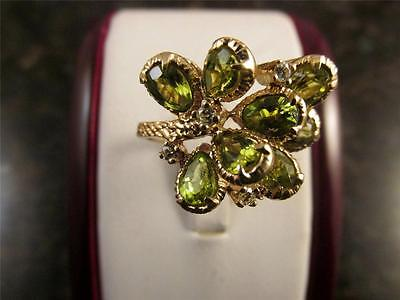 Vintage Peridot Green Cluster Ring With Diamonds In 14k Solid Yellow Gold Sz 5.5
