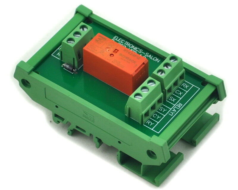 DC24V Coil ELECTRONICS-SALON Bistable DPDT 8 Amp Relay Module with DIN Rail Carrier Housing
