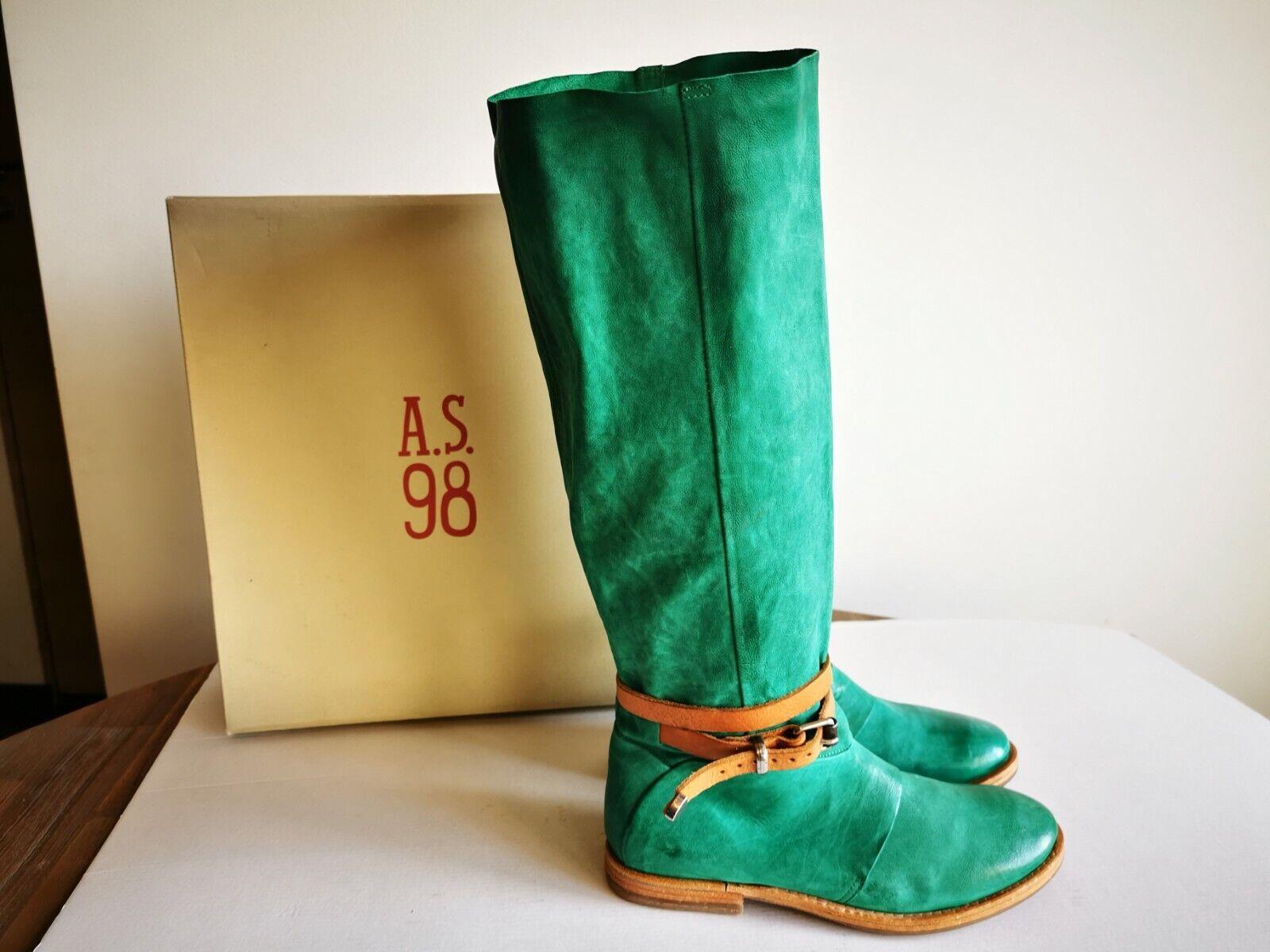 ! novedad! rareza! a.s.98/Airstep sueño verde cuero genuino reitstiefel, talla 39