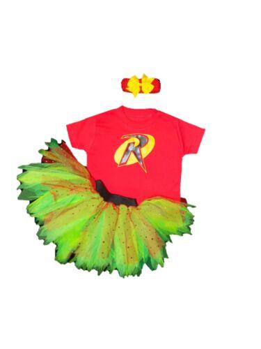 Girls Superhero Robin Comic Tutu Set Skirt Sparkle 80s Fancy Dress Costume Baby