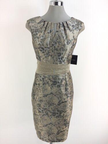 Ellen Tracy NEW Elegant GOLD Metallic Jacquard Sheath Dress size 2,4,10 L@@K !!!