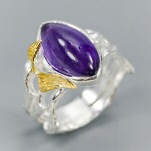 Handmade-Natural-Amethyst-925-Sterling-Silver-Ring-Size-8-75-R112449