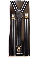 NEW Black with White Line Clip on SUSPENDERS Elastic Adjustable Adult USA SELLER