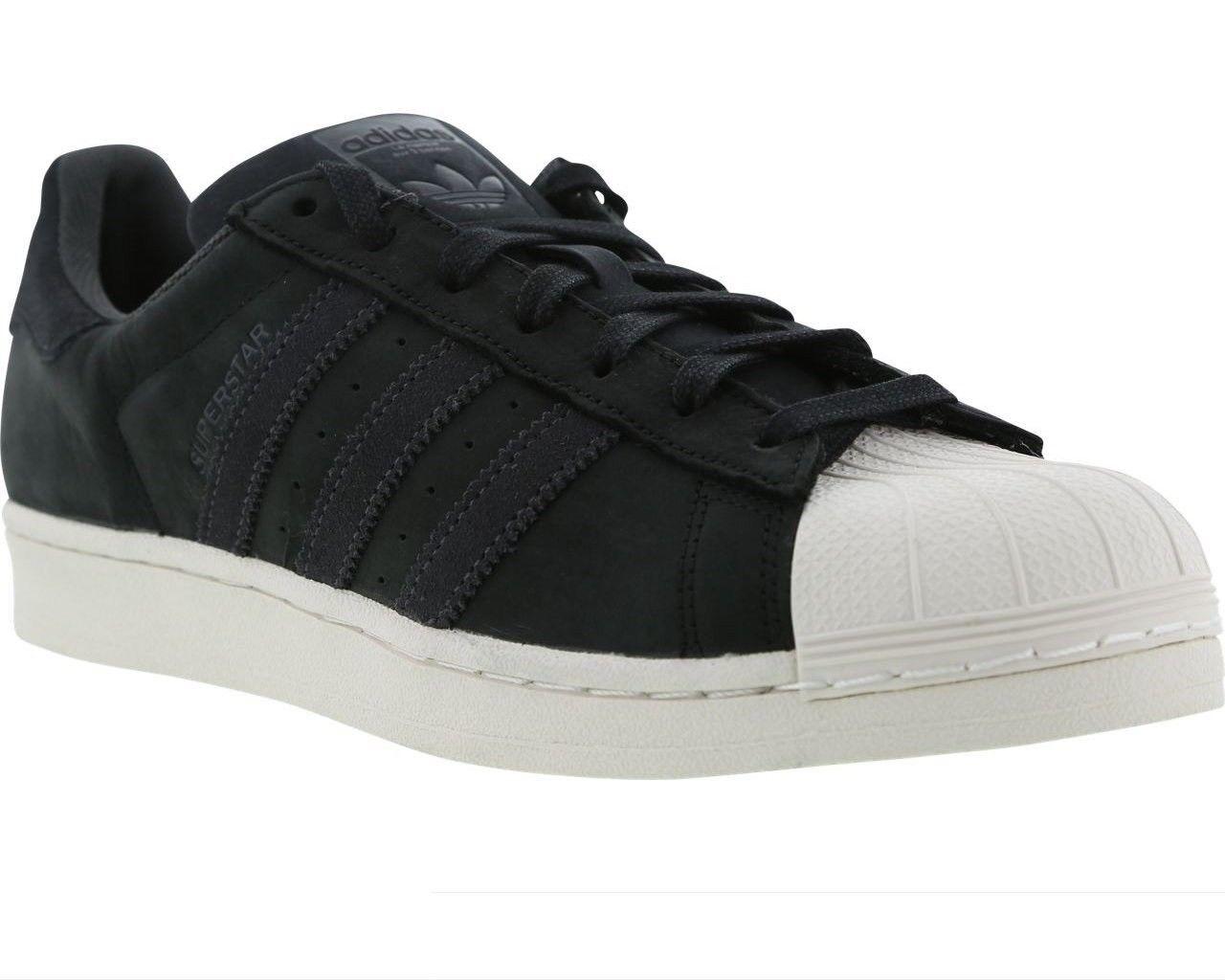 Da Uomo Adidas Originals Superstar CM8092 Scarpe Nero Bianco Pelle Scarpe Da Ginnastica