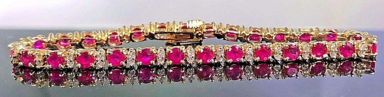Vintage Ruby Diamond Tennis Bracelet 14k yellow gold bracelet