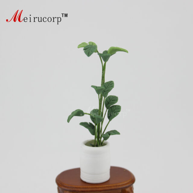 Dollhouse 1:12 Scale Mini Model green Succulent plant and Flowerpot 09975
