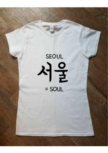 KPOP SEOUL SOUL Korean Printed T Shirt Top Tee Fashion K drama Womens