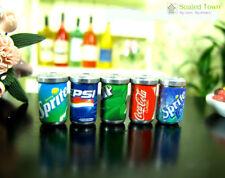 5 Dollhouse Miniature Soda Pop Cans Kitchen Food Drink Beverage Cola Pepsi 1/12