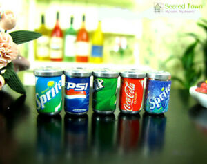 5-Dollhouse-Miniature-Soda-Pop-Cans-Kitchen-Food-Drink-Beverage-Cola-Pepsi-1-12