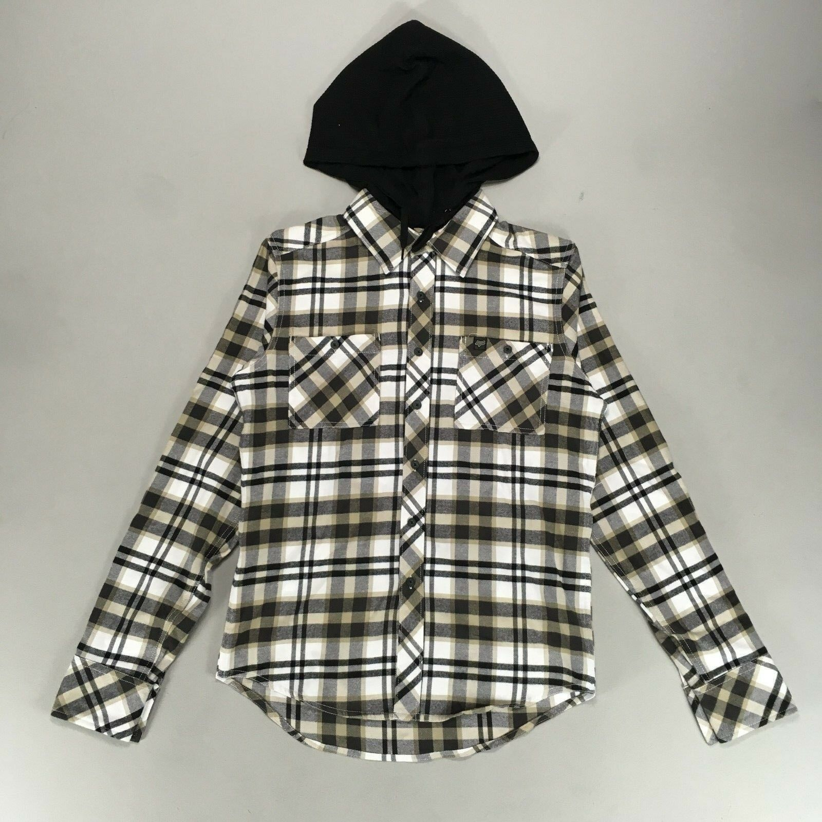 Fox Bylls Long sleeve Hooded Flannel Shirt in White Size S