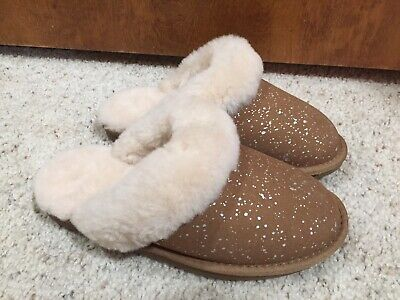 Members Mark Womens Size 6 Shearling /& Sheepskin Scuff Slippers with Sparkle