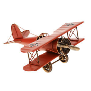 Vintage Red Tin Metal Biplane Airplane Model Decor Play Toy Collectible Gift