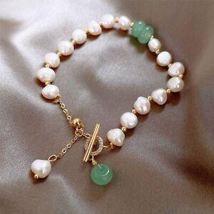 18K Gold Irregular Pearl Bracelet Adjustable Bangle Chain Women Jewelry 2021 New