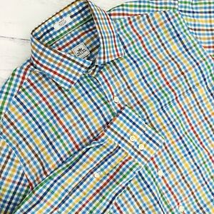 Peter-Millar-Mens-Sz-Medium-Button-Down-Long-Sleeve-Dress-Shirt-Multicolor-Plaid