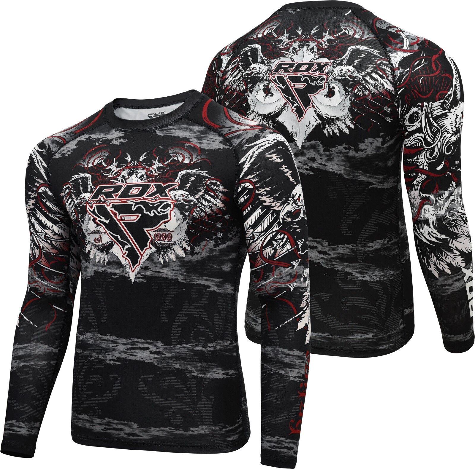 RDX Long Sleeve Weight Loss Sweat Shirt Rash Guard Compression Shirt MMA Running